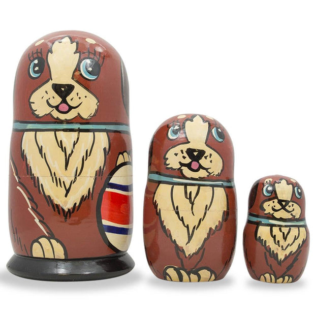 Set of 3 Brown Dog with Ball Wooden Russian Nesting Dolls 5 Inches by BestPysanky