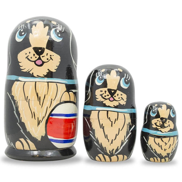 3 Black Dog with Ball and Bow Wooden Matryoshka Russian Nesting Dolls 5 Inches by BestPysanky