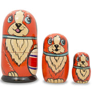 Set of 3 Dogs with Ball Matryoshka Wooden Russian Nesting Dolls 5 Inches by BestPysanky