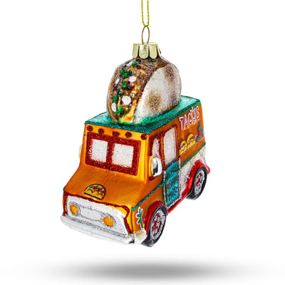 Taco Truck Blown Glass Christmas Ornament by BestPysanky