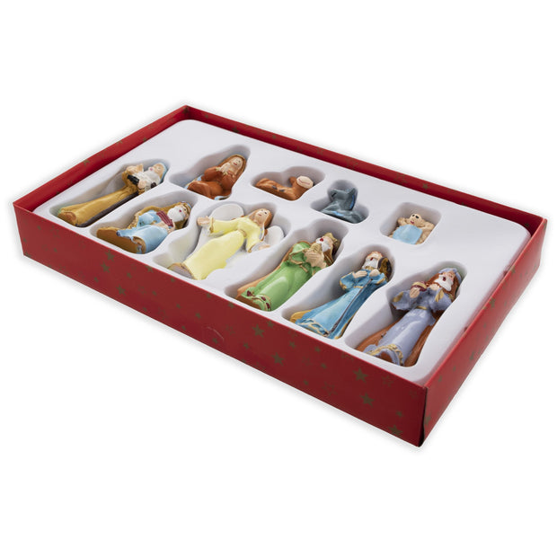 Hand Painted Miniature Nativity Scene Set of 10 Figurines