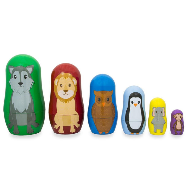 Set of 6 Wolf, Lion, Owl, Penguin Wild Animals Plastic Nesting Dolls 4.5 Inches by BestPysanky