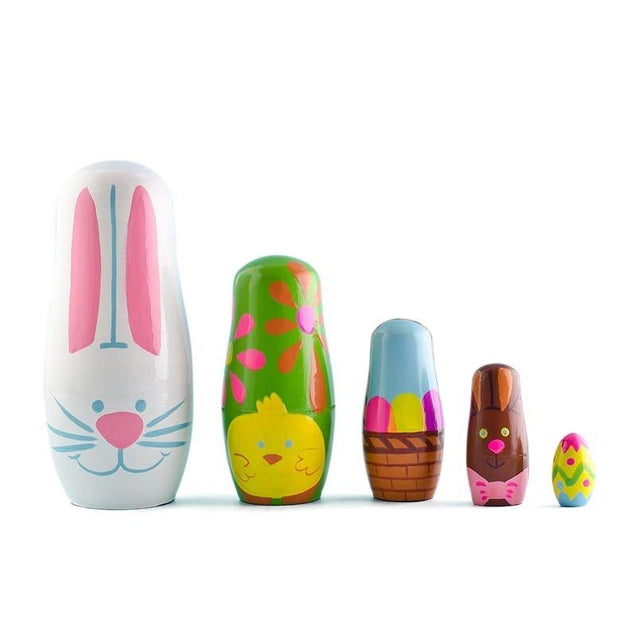 Set of 5 Easter Bunny with Chick and Easter Egg Wooden Nesting Dolls Matryoshka 5 Inches by BestPysanky