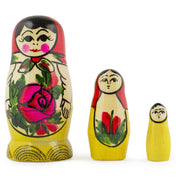 3 Miniature Traditional Wooden Matryoshka Russian Nesting Dolls 3 Inches by BestPysanky