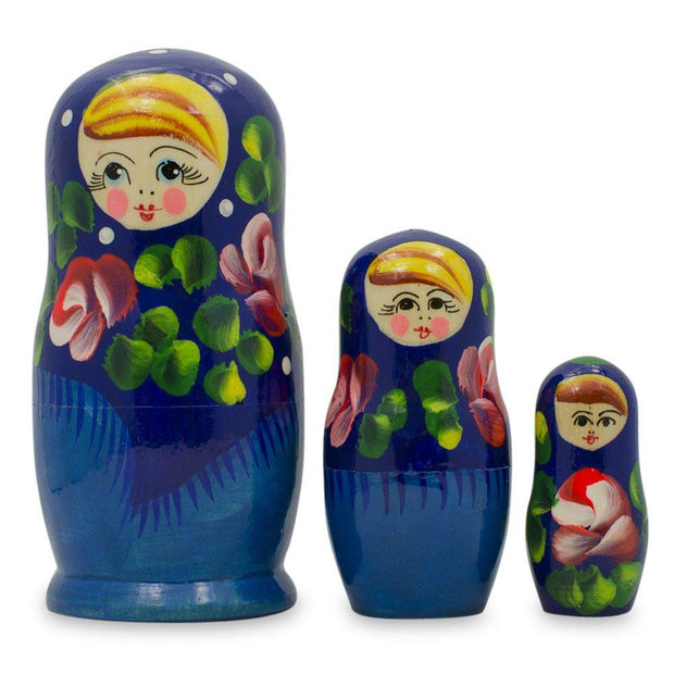 Set of 3 Deep Blue Dress Wooden Russian Matryoshka Nesting Dolls 3.5 Inches by BestPysanky