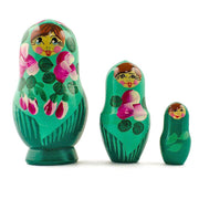 Set of 3 Deep Green Dress Wooden Russian Matryoshka Nesting Dolls 3.5 Inches by BestPysanky