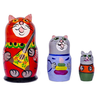 Set of 3 Cat with Balalaika Music Instrument Russian Nesting Dolls 3.5 Inches by BestPysanky