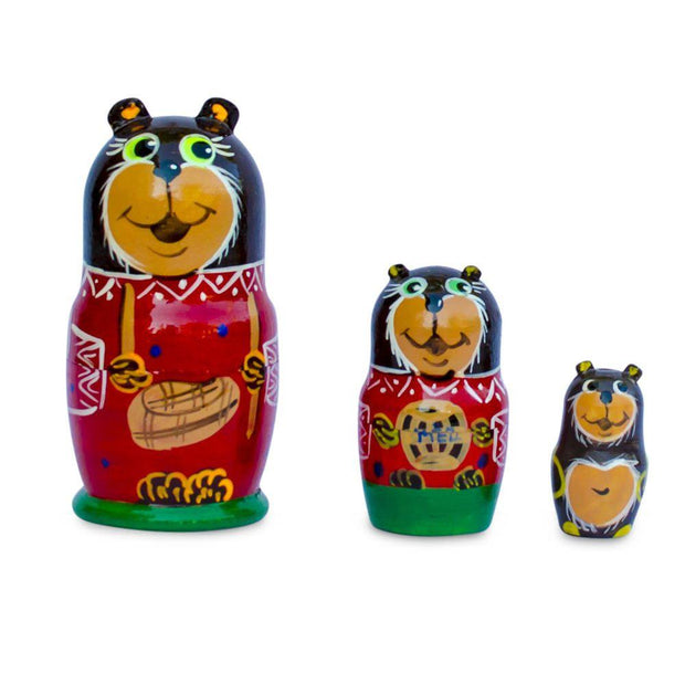 Set of 3 Bears Wooden Nesting Dolls 3.5 Inches by BestPysanky