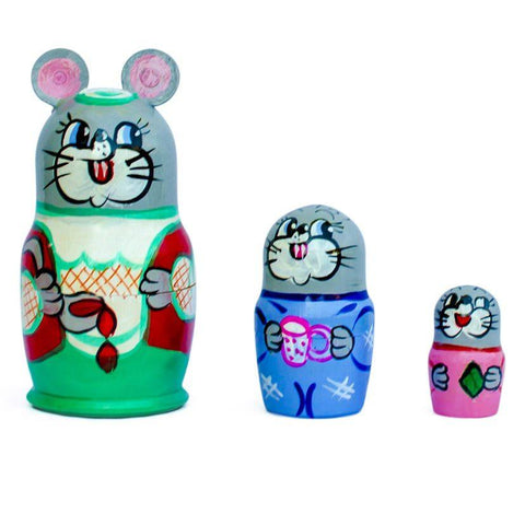 BestPysanky Nesting Dolls > Animals - 3.5'' Set of 3 Mouse Wooden Russian Nesting Dolls