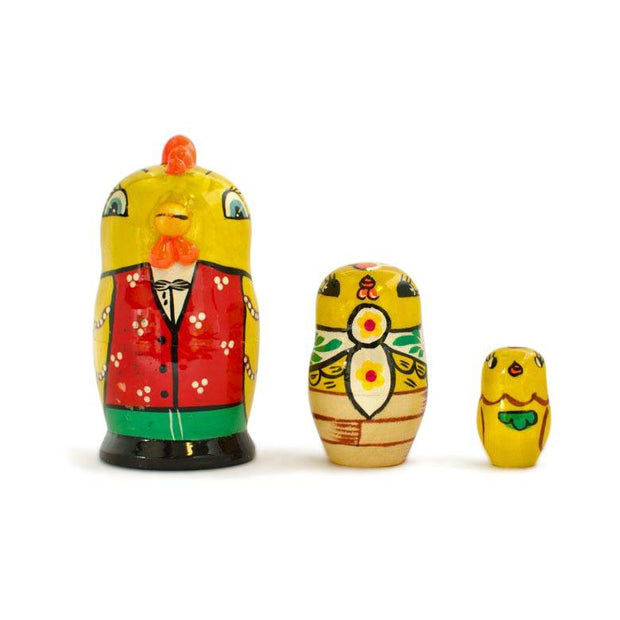 3 Rooster and Chicks Wooden Russian Easter Nesting Dolls 3.5 Inches by BestPysanky