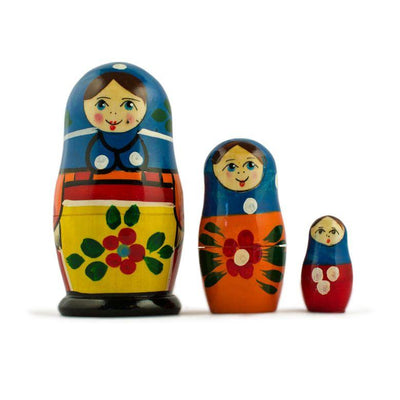 Set of 3 Peasant Girls in Blue Scarf Wooden Russian Nesting Dolls 3.5 Inches by BestPysanky