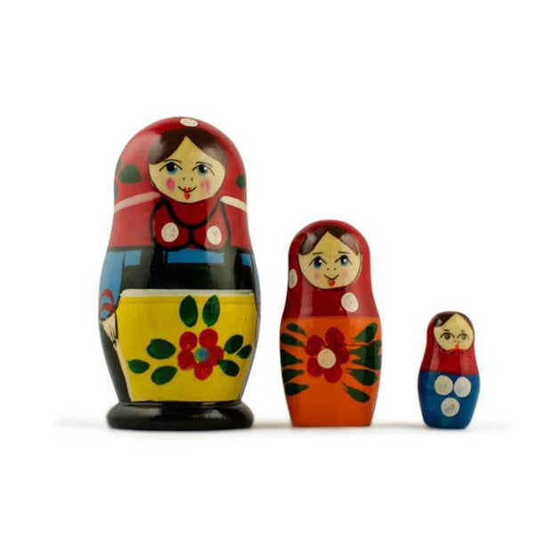 BestPysanky Nesting Dolls > Traditional - 3.5'' Set of 3 Peasant Girls in Blue Scarf Wooden Russian Nesting Dolls