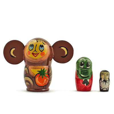 Set of 3 Cheburashka and Gena Wooden Russian Nesting Dolls Matryoshka 3.5 Inches by BestPysanky