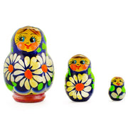 Set of 3 Daisy Flowers Miniature Wooden Russian Nesting Dolls 2 Inches by BestPysanky