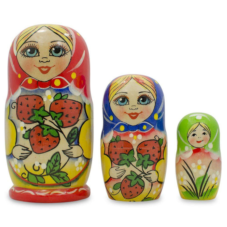 3 Strawberries Multi-Color Matryoshka Russian Nesting Dolls 4 Inches by BestPysanky