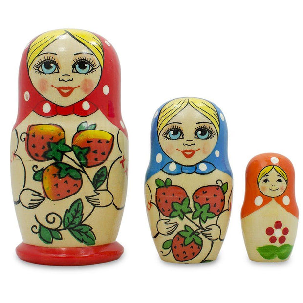 "BestPysanky Nesting Dolls > Floral - 4"" Set of 3 Red Strawberry Scarf Wooden Matryoshka Russian Nesting Dolls"