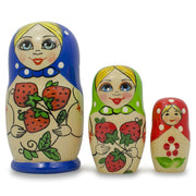Set of 3 Blue Strawberries Matryoshka Russian Nesting Dolls 4 Inches by BestPysanky