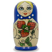 Set of 3 Blue Strawberries Matryoshka Russian Nesting Dolls 4 Inches