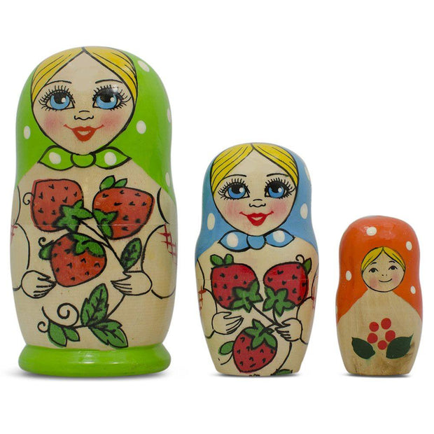 Set of 3 Green Blue and Orange Matryoshka Russian Nesting Doll 4 Inches by BestPysanky