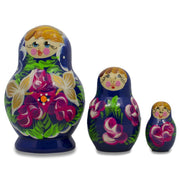 "BestPysanky Nesting Dolls > Floral - 3.5"" Set of 3 Floral on Blue Dress Russian Matryoshka Dolls"