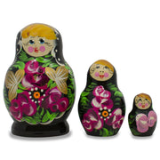Set of 3 Floral on Black Dress Russian Matryoshka Dolls 3.5 Inches by BestPysanky