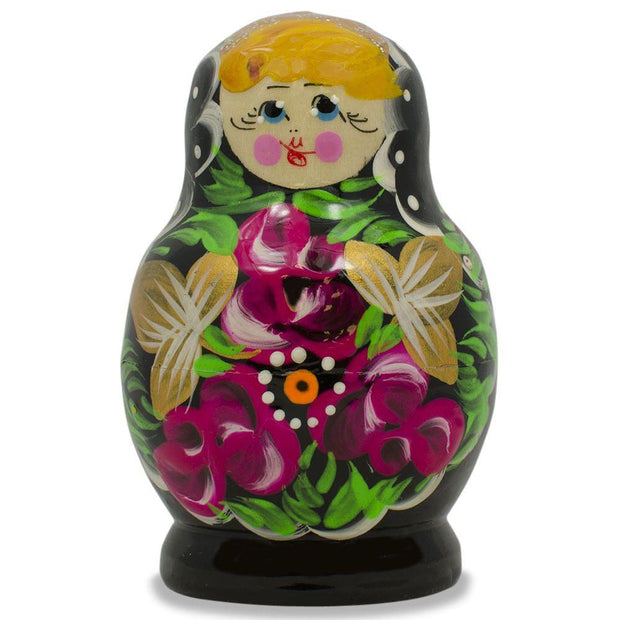 Buy Online Gift Shop Set of 3 Floral on Black Dress Russian Matryoshka Dolls 3.5 Inches