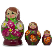Set of 3 Floral on Purple Dress Russian Matryoshka Dolls 3.5 Inches by BestPysanky