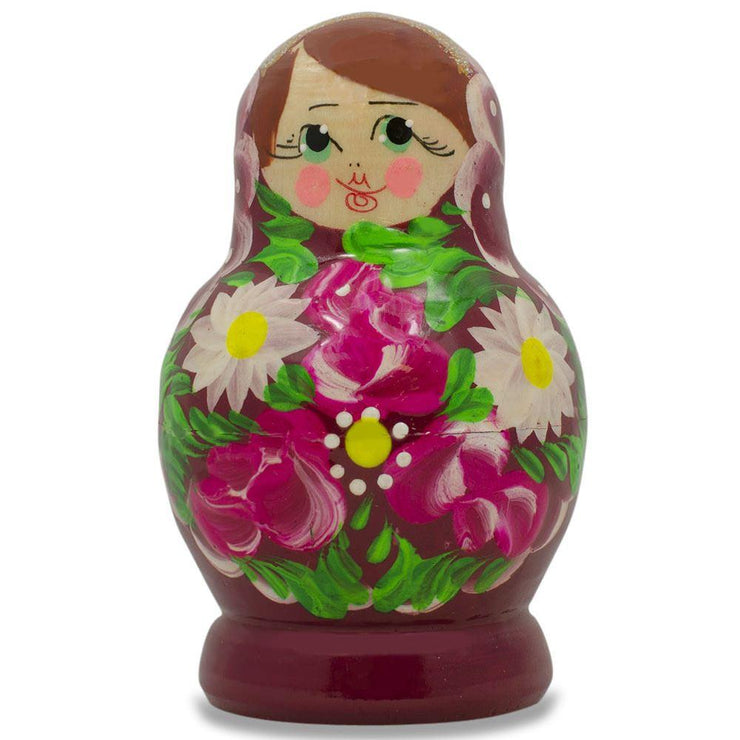 Buy Online Gift Shop Set of 3 Floral on Purple Dress Russian Matryoshka Dolls 3.5 Inches