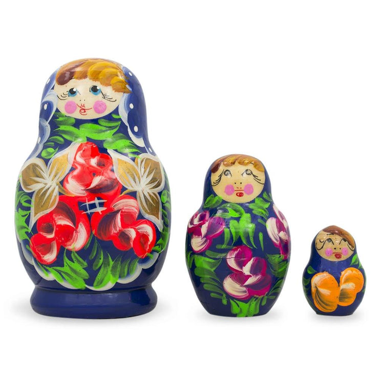 Set of Flowers on Blue Dress Russian Nesting Dolls 3.5 Inches by BestPysanky