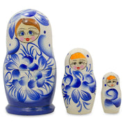 "BestPysanky Nesting Dolls > Floral - 3.75"" Set of 3 Gzel Painting Blue Wooden Matryoshka Russian Nesting Dolls"