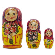 "BestPysanky Nesting Dolls > Floral - 4.25"" Set of 3 Girls with Flower Bouquet Matryoshka Russian Nesting Dolls"