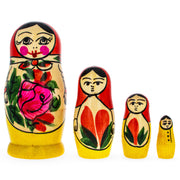 Set of 4 Semyonov Traditional Matryoshka Wooden Russian Nesting Dolls 4 Inches by BestPysanky