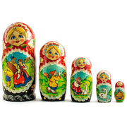 Set of 5 Summer in the Village Wooden Russian Nesting Dolls 6.5 Inches by BestPysanky