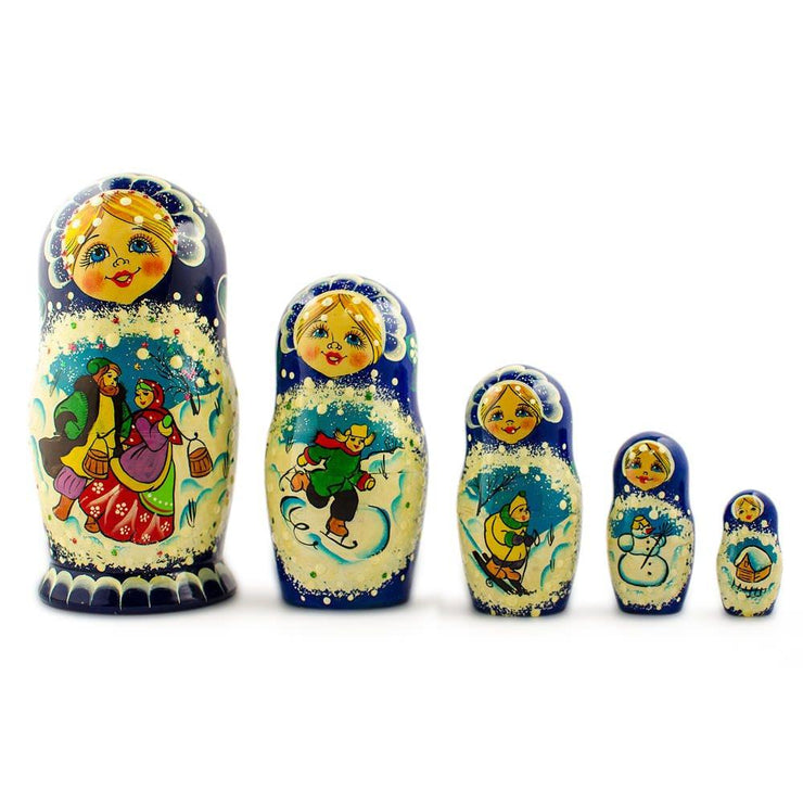 Set of 5 Family Christmas Celebration Wooden Russian Nesting Dolls 6.5 Inches by BestPysanky