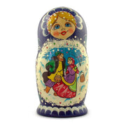 Buy Online Gift Shop Set of 5 Family Christmas Celebration Wooden Russian Nesting Dolls 6.5 Inches