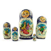 Set of 5 Family Christmas Celebration Wooden Russian Nesting Dolls 6.5 Inches