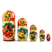 Set of 5 Dancing Couple in Winter Village Russian Nesting Dolls 6.5 Inches by BestPysanky