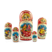 Buy Online Gift Shop Set of 5 Dancing Couple in Winter Village Russian Nesting Dolls 6.5 Inches