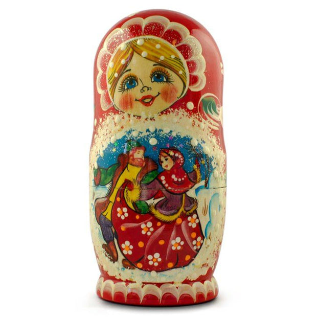 Set of 5 Dancing Couple in Winter Village Russian Nesting Dolls 6.5 Inches