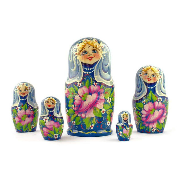 "BestPysanky Nesting Dolls > Floral - 7"" Set of 5 Blue Dress Girls Wooden Russian Nesting Dolls"