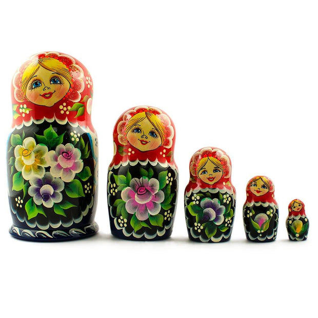 Set of 5 Yellow, Pink and Purple Flowers Dress Russian Nesting Dolls 7 Inches by BestPysanky