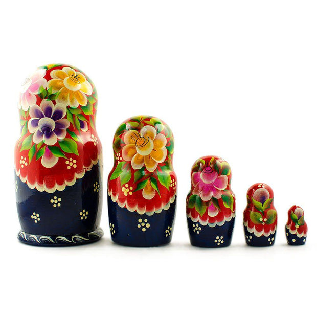 "BestPysanky Nesting Dolls > Floral - 7"" Set of 5 Yellow, Pink and Purple Flowers Dress Russian Nesting Dolls"
