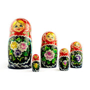 Set of 5 Yellow, Pink and Purple Flowers Dress Russian Nesting Dolls 7 Inches