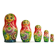 "BestPysanky Nesting Dolls > Floral - 6"" Set of 5 Girls in Red and Green Dress Wooden Russian Nesting Dolls"