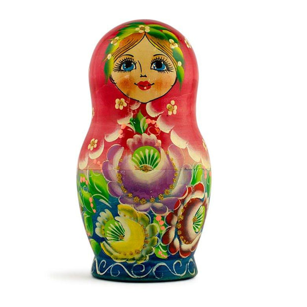 Buy Online Gift Shop Set of 5 Girls in Red and Green Dress Wooden Russian Nesting Dolls 6 Inches