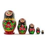 Set of 5 Olesya Russian Wooden Nesting Dolls 3.5 Inches by BestPysanky