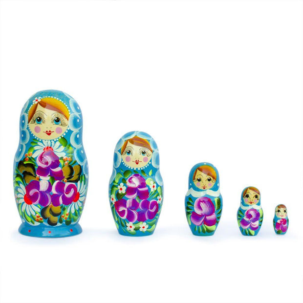 Set of 5 Iris Russian Nesting Dolls 6 Inches by BestPysanky