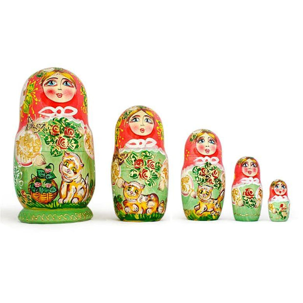 Set of 5 Girls with Cats Wooden Russian Nesting Dolls 6.5 Inches by BestPysanky