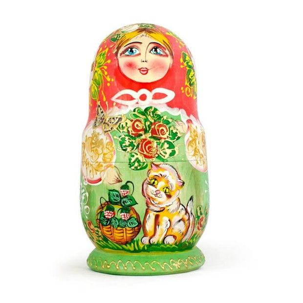 Buy Online Gift Shop Set of 5 Girls with Cats Wooden Russian Nesting Dolls 6.5 Inches