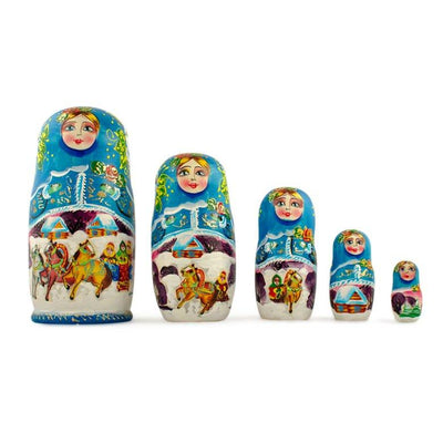 Set of 5 Winter Ride Russian Wooden Matryoshka Nesting Dolls 7 Inches by BestPysanky